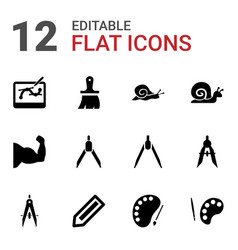 12 draw icons vector