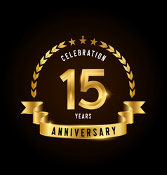 15 years anniversary celebration logotype golden vector image