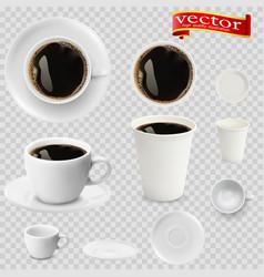 3d realistic espresso coffee in white cups vector image