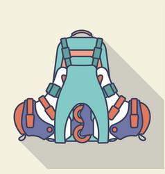 backpack and inline roller skates flat vector image
