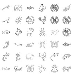 beetle icons set outline style vector image