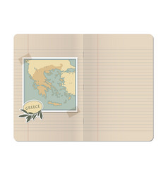 Blank stapled lines notebook with map of greece vector