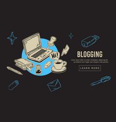 blogging artistic cartoon hand drawn sketchy line vector image