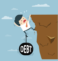 Business man with debt falling from cliff concept vector