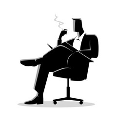 Businessman sitting and reading on a chair while vector
