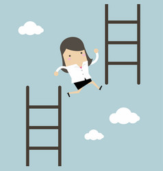 Businesswoman jump from low stair to high stair vector