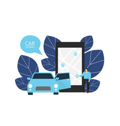Car sharing man orders a car vector