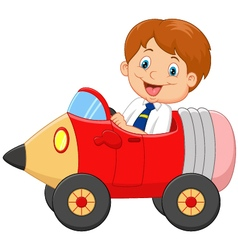 Cartoon boy driving a pencil car vector