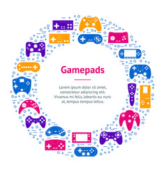 cartoon gamepad banner card circle vector image