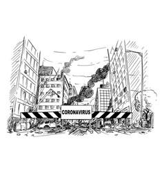 Cartoon quarantine area roadblock blocking vector