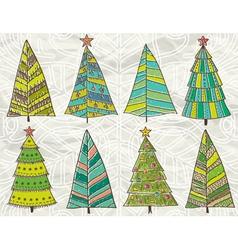 Christmas trees on beije crumple background vector