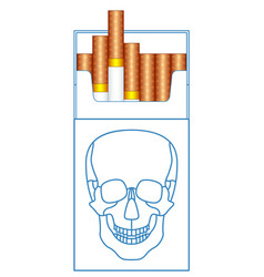 cigarette pack and skull vector image