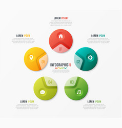 circle chart template with 5 options vector image