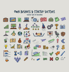 Colored doodle infographic business icons set vector