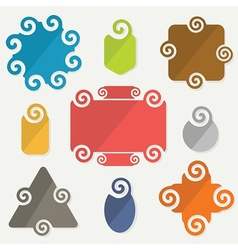 colorful retro spiral icons design elements set vector image