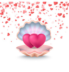 Conch with couple hearts feeling love vector