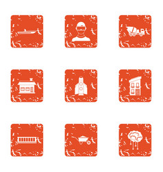 contemporary build icons set grunge style vector image