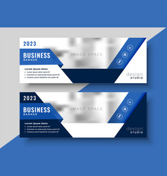 Corporate blue banner design for your business vector