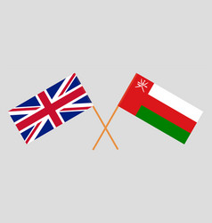 Crossed flags oman and uk vector