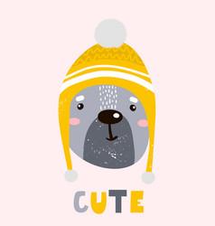 Cute cartoon bear boy in winter hat childish vector