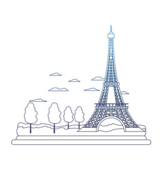 degraded line eiffel tower structure and cute vector image