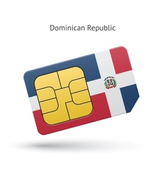 Dominican Republic mobile phone sim card with flag vector