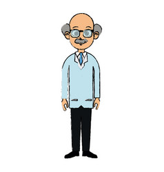 drawing portrait doctor man character standing vector image