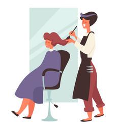 Dye hair in beauty salon hairdresser and female vector