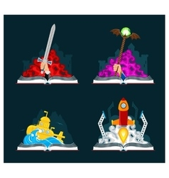 Fantasy and Sci-Fi Books Set vector