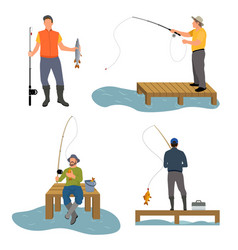 Fisherman catches fish set vector