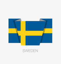 flag of sweden flat icon waving flag with country vector image