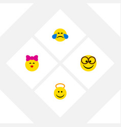 Flat icon emoji set of pleasant cold sweat vector