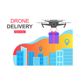 Flying drone delivery present and cityscape big vector