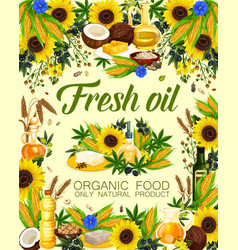 Fresh oils of plants or herbs and fruits poster vector