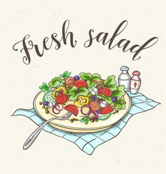 fresh vegetable salad on a plate vector image