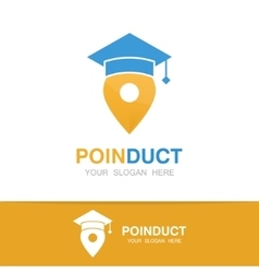Graduation cap and map pointer logo concept vector