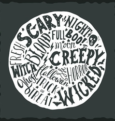 Halloween hand lettering on round background vector
