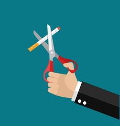 hands holding scissors cut a cigarettes vector image