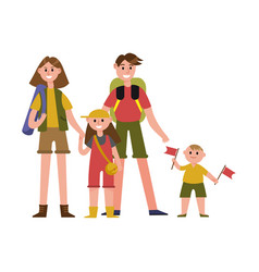 happy parents with kids on summer vacations vector image
