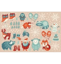 Holiday set of christmas characters in cartoon vector