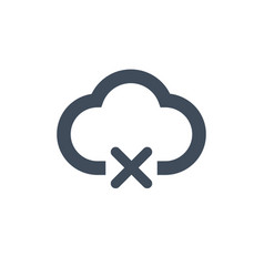 icon cloud icon with cross or delete sign vector image