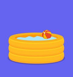 Inflate backyard pool baby plastic flat vector