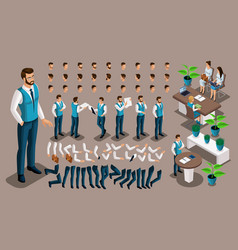 isometric vintage background male bank worker vector image