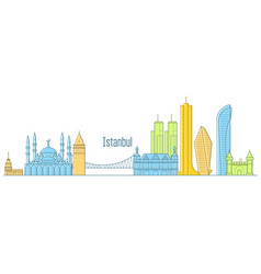 Istanbul cityscape - landmarks and sights vector