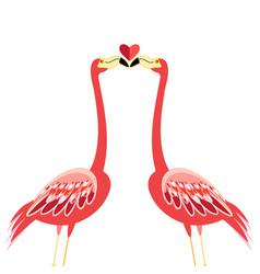 Kiss flamingos vector