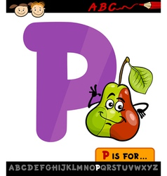 Letter p with pear cartoon vector