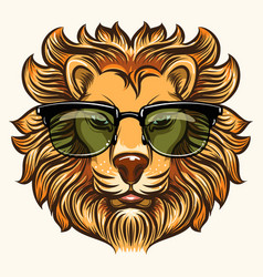 Lion in glasses in cartoon style vector