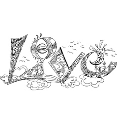 LOVE sketchy doodles vector image