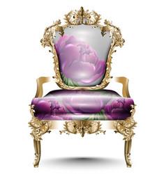 Luxurious baroque chair soft textile vector