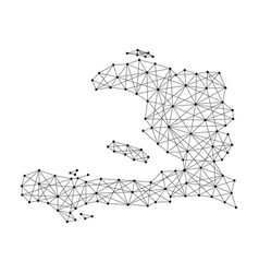 Map of haiti from polygonal black lines and dots vector